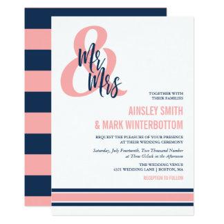 Preppy Coral & Navy Mr & Mrs Wedding Invitation