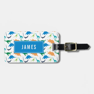 Preppy Dinosaur Personalize Silhouette Boy Luggage Tag