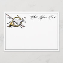 Preppy Equestrian Horse Jumping Horn Note Card Col