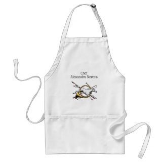Preppy Equestrian Horse Jumping Through Horn Color Adult Apron