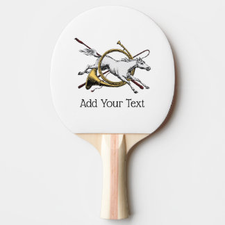 Preppy Equestrian Horse Jumping Through Horn Color Ping-Pong Paddle