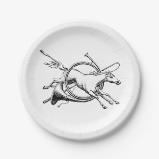 Preppy Equestrian Horse Jumping Through Horn Hunt Paper Plate