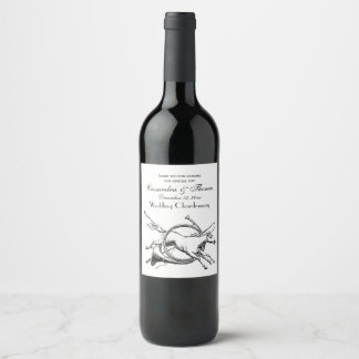 Preppy Equestrian Horse Jumping Through Horn Hunt Wine Label