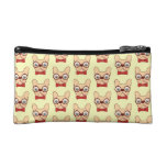 Preppy Frenchie is ready for school in new bow tie Cosmetic Bag