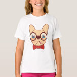 Preppy Frenchie is ready for school in new bow tie T-Shirt