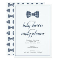 Preppy Gingham Bow Tie Baby Boy Shower Invitation