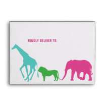 Preppy Girl Safari Animal Birthday Party Lined Envelope