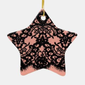 Preppy Girly Chic blush pink vintage black lace Ceramic Ornament