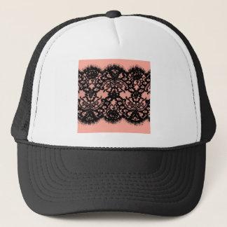 Preppy Girly Chic blush pink vintage black lace Trucker Hat