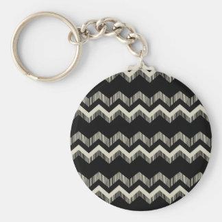 Preppy Girly Pattern Black And Grey Chevron Keychain