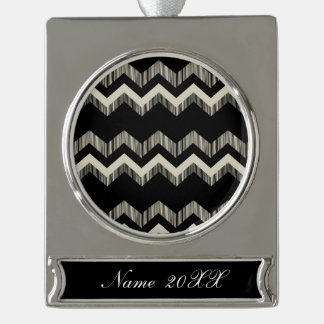 Preppy Girly Pattern Black And Grey Chevron Silver Plated Banner Ornament