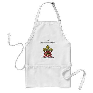 Preppy Gold Red Heraldic Crest Fleur de Lis Emblem Adult Apron