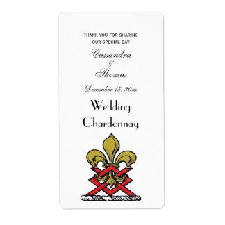 Preppy Gold Red Heraldic Crest Fleur de Lis Emblem Label