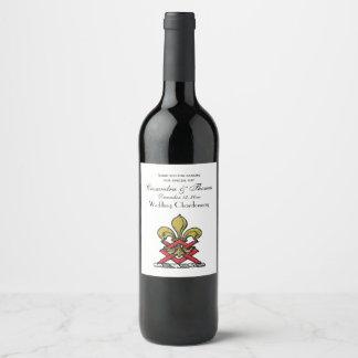 Preppy Gold Red Heraldic Crest Fleur de Lis Emblem Wine Label