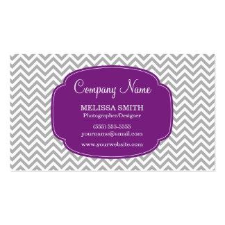 Preppy Gray Purple Chevron Pattern Business Card