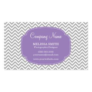 Preppy Gray Soft Purple Chevron Pattern Business Card