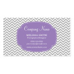 Preppy Gray Soft Purple Chevron Pattern Business Cards
