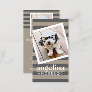 Preppy business cards templates zazzle preppy gray striped pattern custom name and photo business card colourmoves