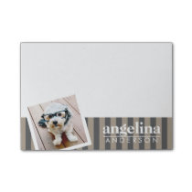 Preppy Gray Striped Pattern Custom Name and Photo Post-it Notes