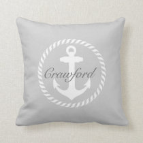 Preppy Gray & White Nautical Anchor Monogram Throw Pillow