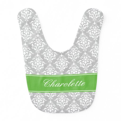 Preppy Green and Gray Damask Personalized Baby Bib