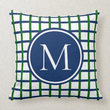 Beach Themed Preppy Green and Navy Blue Plaid Monogram Throw Pillow