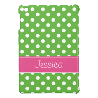 Preppy Green and Pink Polka Dots Personalized iPad Mini Cases