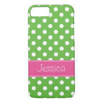 Preppy Green and Pink Polka Dots Personalized iPhone 8/7 Case