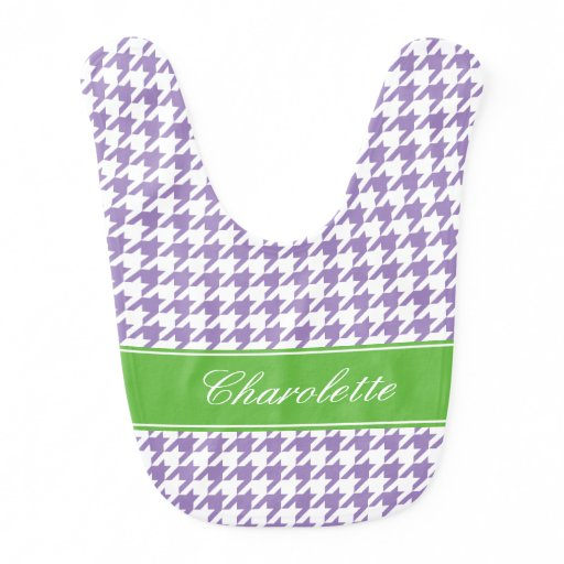 Preppy Green and Purple Houndstooth Personalized Baby Bib