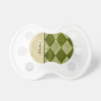 Preppy Green Argyle Classic Masculine Geometric Pacifiers