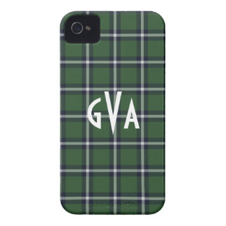 Preppy Green & Navy plaid pattern iPhone 4/4s case