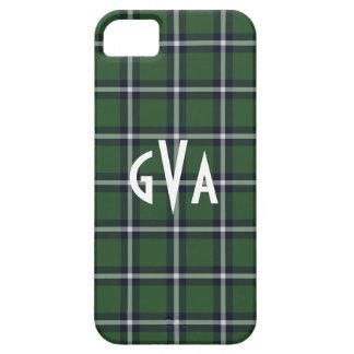 Preppy Green & Navy plaid pattern iPhone 5 case