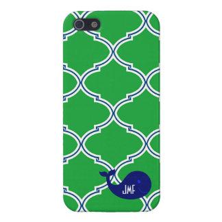 Preppy Green Quatrefoil Blue Whale iPhone5/5S Case