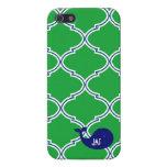 Preppy Green Quatrefoil Blue Whale iPhone5/5S Case Case For iPhone 5/5S