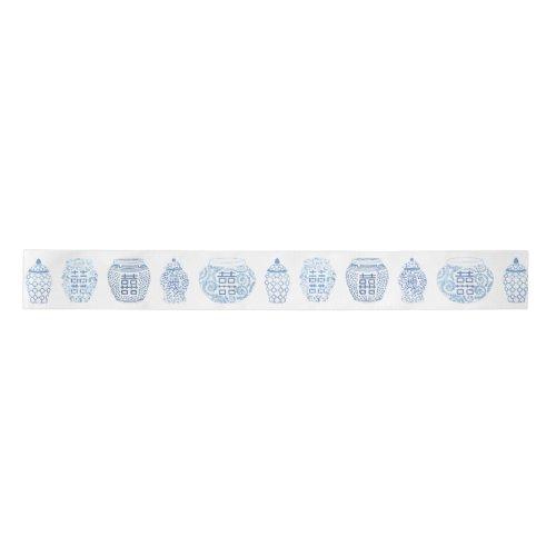 Preppy Handpainted Blue And White Ginger Jars Satin Ribbon