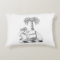 Preppy Heraldic Camel Palm Tree Coat of Arms Accent Pillow
