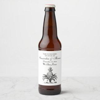 Preppy Heraldic Pineapple Coat of Arms Crest Beer Bottle Label