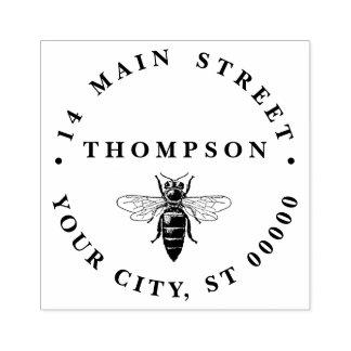 Preppy Heraldic Vintage Bee #2 Coat of Arms Rubber Stamp