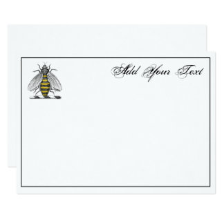 Preppy Heraldic Vintage Bee Coat of Arms Emblem C Card