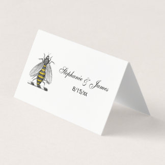 Preppy Heraldic Vintage Bee Coat of Arms Emblem C Place Card