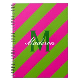 Preppy Hot Pink & Lime Green Striped Monogram Notebooks