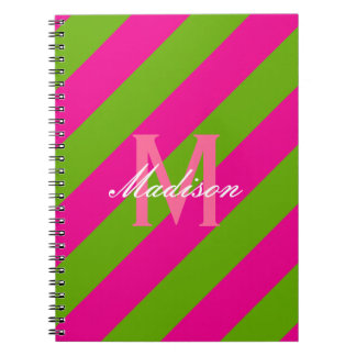 Preppy Hot Pink & Lime Green Striped Monogram Notebook