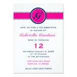 "Preppy Hot Pink & Navy Blue Monogram 5"" X 7"" Invitation Card"