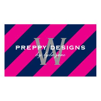 Preppy Hot Pink & Navy Blue Monogram Surprise Business Card Template