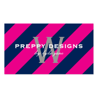 Preppy Hot Pink & Navy Blue Monogram Surprise Double-Sided Standard Business Cards (Pack Of 100)