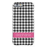 Preppy Houndstooth Pattern - Black and Hot Pink Barely There iPhone 6 Case