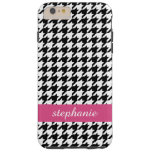 Preppy Houndstooth Pattern - Black and Hot Pink Tough iPhone 6 Plus Case