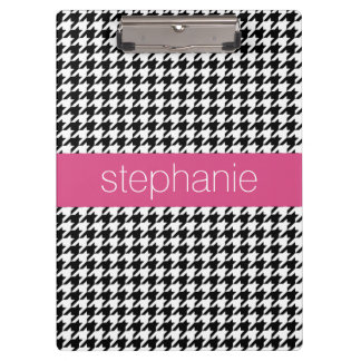 Preppy Houndstooth Pattern - Black and Hot Pink Clipboard