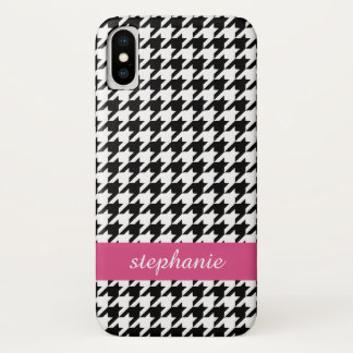 Preppy Houndstooth Pattern - Black and Hot Pink iPhone X Case