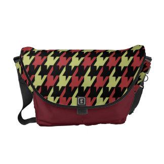 Preppy Houndstooth Pattern in Red Olive Black Messenger Bag